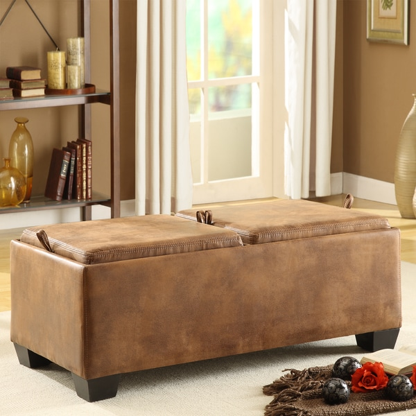 TRIBECCA HOME Oakford Brown Mottled Microfiber Cocktail Tray Top Storage Ottoman