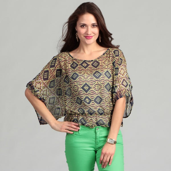 Angie Junior's Navy Abstract Print Dolman Top
