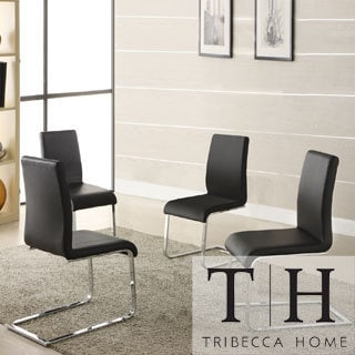 Wragby Black Contoured Modern Dining Chairs (Set of 4)