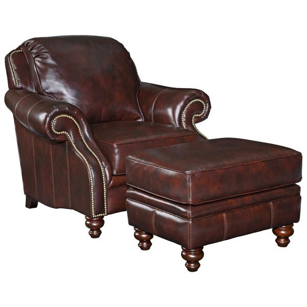 Broyhill Brown Leather Traditional Chair And Ottoman Set