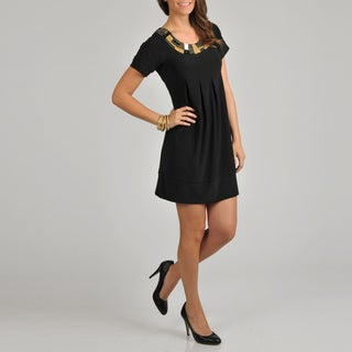 Tiana B. Women's Black Embellished Pleat Front Dress