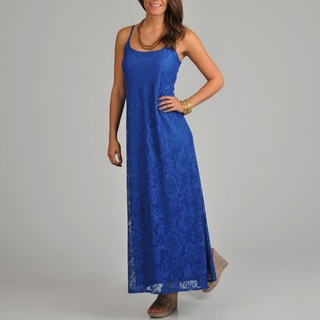 Tiana B. Women's Blue Lace Maxi Dress