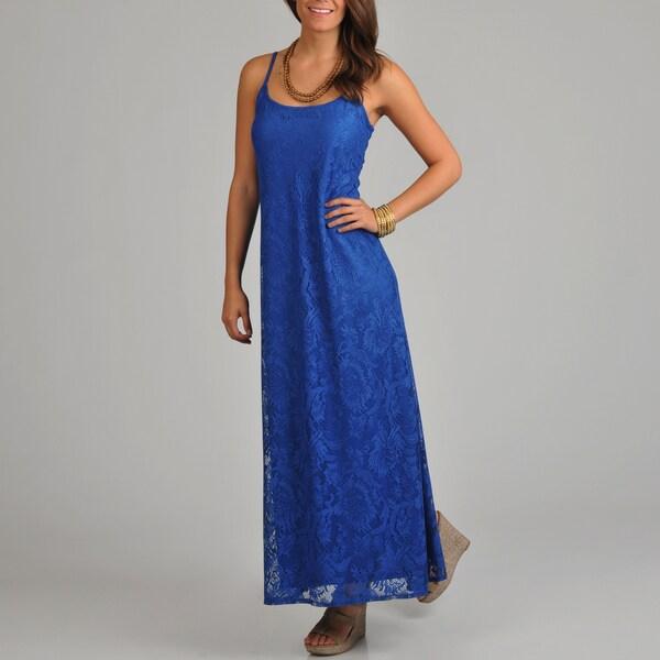 Tiana B. Women's Blue Lace Maxi Dress