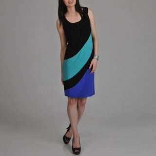Tiana B. Women's Black Color-block Sleeveless Dress