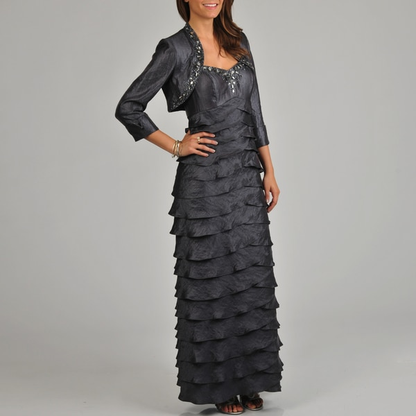 Ignite Evenings Women's 2-piece Pewter Jacketed Dress