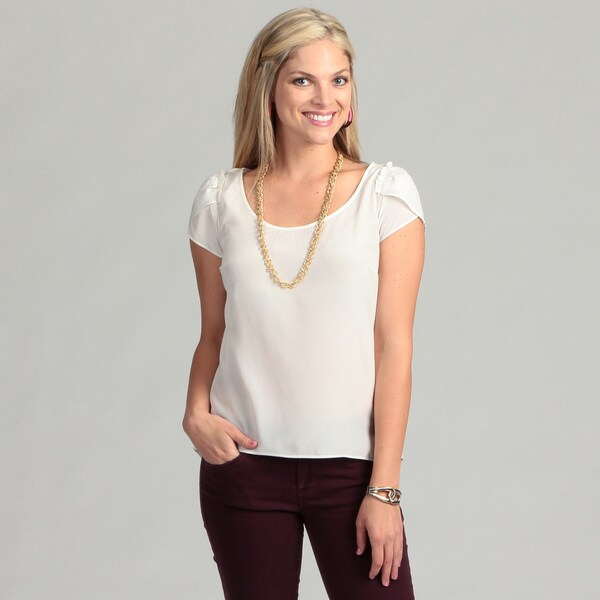 Jessica Simpson Junior's Anitque White Blouse with Exposed Zipper