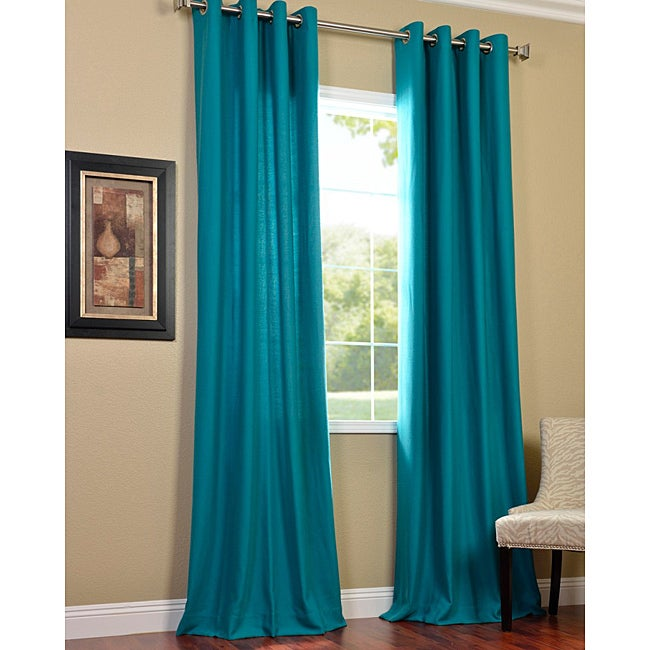 Exclusive Fabrics Cotenza Turquoise Faux Cotton Grommeted Curtain Panel 14292678 Overstock