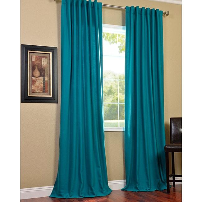 EFF Cotenza Turquoise Faux Cotton Curtain Panel