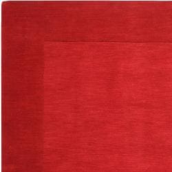 Hand-crafted Solid Red Tone-On-tone Bordered Mantra Wool Rug (6' x 9')