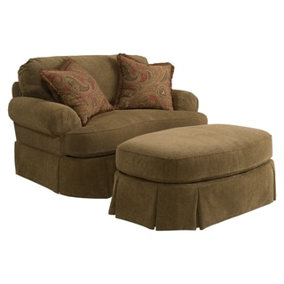 Broyhill McKenna Stucco Beige Chair and Ottoman Set