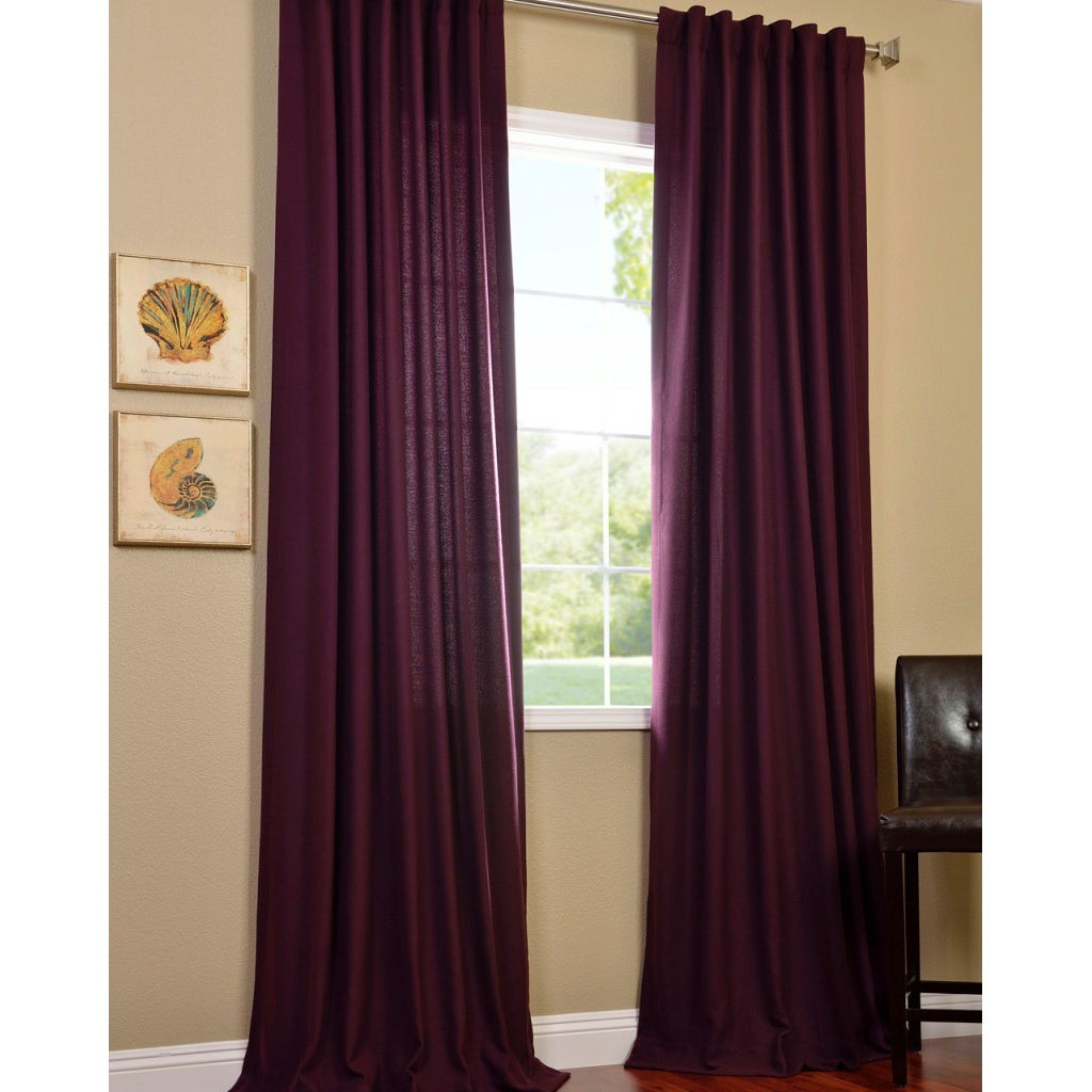 Exclusive Fabrics Grape Velvet Cotenza Curtain Panel - 14292709 ...
