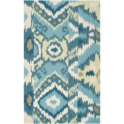 Hand-Hooked Green Benton Abstract Rug (3'6 x 5'6)
