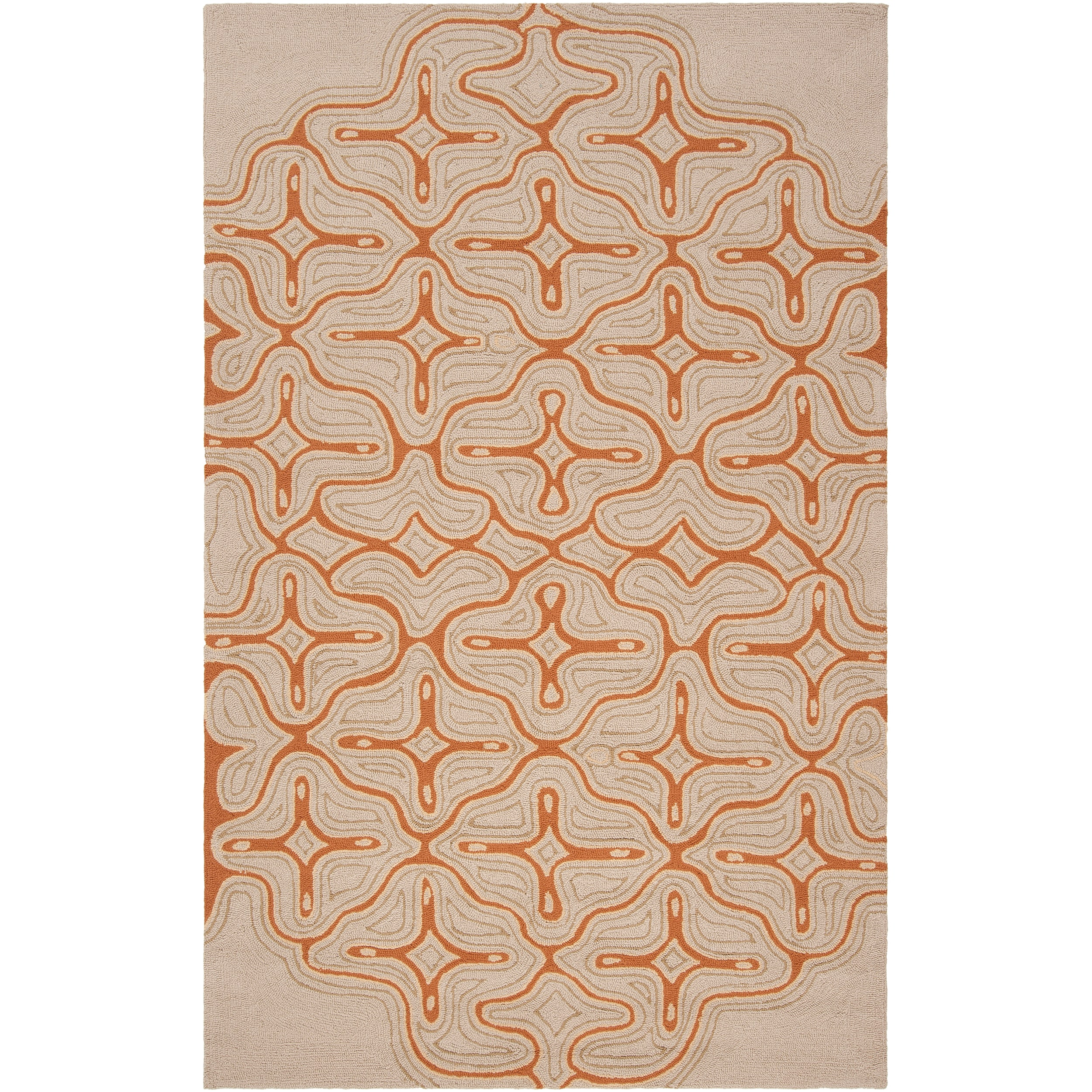 Hand-hooked Beige Yarra Indoor/Outdoor Geometric Rug (5' x 8')