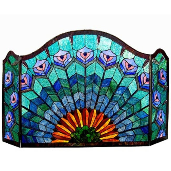 Chloe tiffany style peacock design 3 panel fireplace screen 14292804 shopping - Amazing stained glass fireplace screen designs with intriguing patterns ...