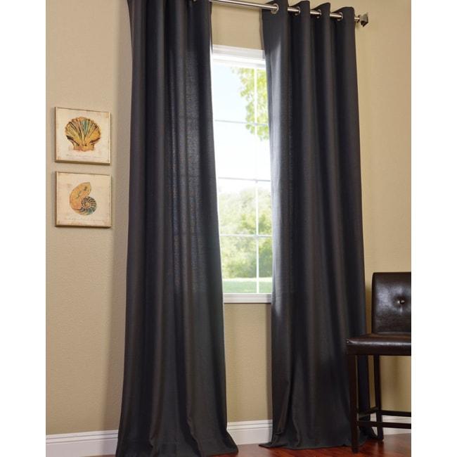 EFF Charcoal Cotenza Faux Cotton Grommet Curtain Panel