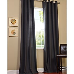 Charcoal Cotenza Faux Cotton Grommet Curtain Panel