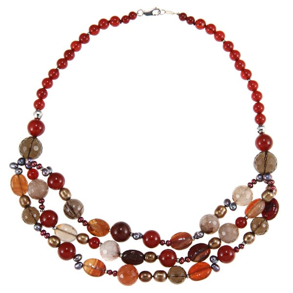 Zoe B Sterling Silver Mixed Tonal Bead Bib Necklace