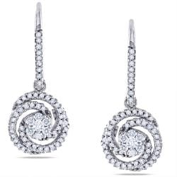 Miadora  14k White Gold 1/2ct TDW Diamond Dangle Earrings (G-H, SI1-SI2)
