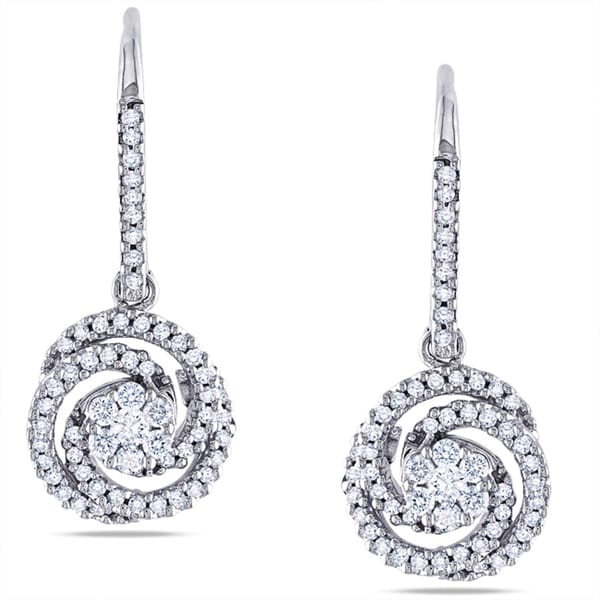 Miadora 14k White Gold 1/2ct TDW Diamond Earrings (G-H, SI1-SI2)