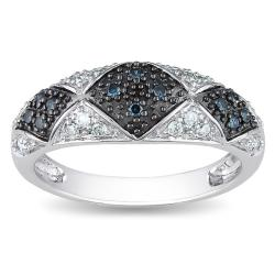 Miadora 14k White Gold 1/4ct TDW Blue and White Diamond Ring (H-I, I2-I3)