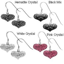 Moise Sterling Silver Crystal Heart Earring Drop