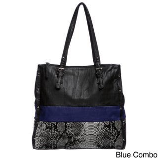 Valenica Python Embossed Colorblock Tote