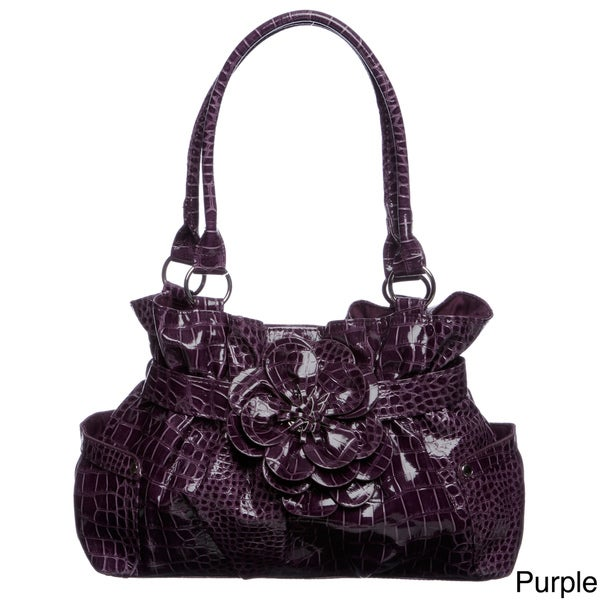 Valencia Croco Embossed Belted Flower Shopper Bag