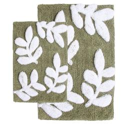 Monte Carlo Cotton Sage and White 2-Piece Bath Rug Set | Overstock ...