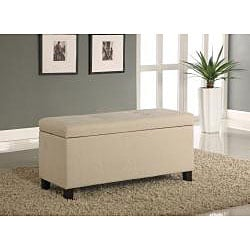 Tufted Linen Storage Bench