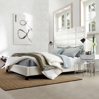 Sarajevo White Bonded Leather High Profile Tufted King-size Bed