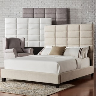 INSPIRE Q Tower Whte Bonded Leather High Profile Upholstered Queen-sized Bed
