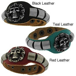 Genuine Colored Distressed Leather with Brushed Silvertone Skull Bracelet