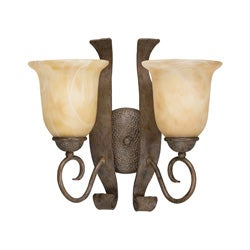 Transitional 2-light Aged Iron Wall Sconce