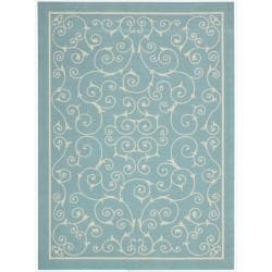 Nourison Home and Garden Indoor/Outdoor Light Blue Rug (7'9 x 10'10)