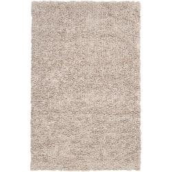 Hand-woven Orange Caparo Street Plush Shag New Zealand Felted Wool Rug (5' x 8')