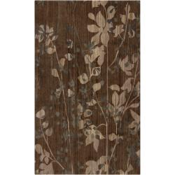 Hand-knotted Brown Barrack New Zealand Wool Rug (5' x 8')