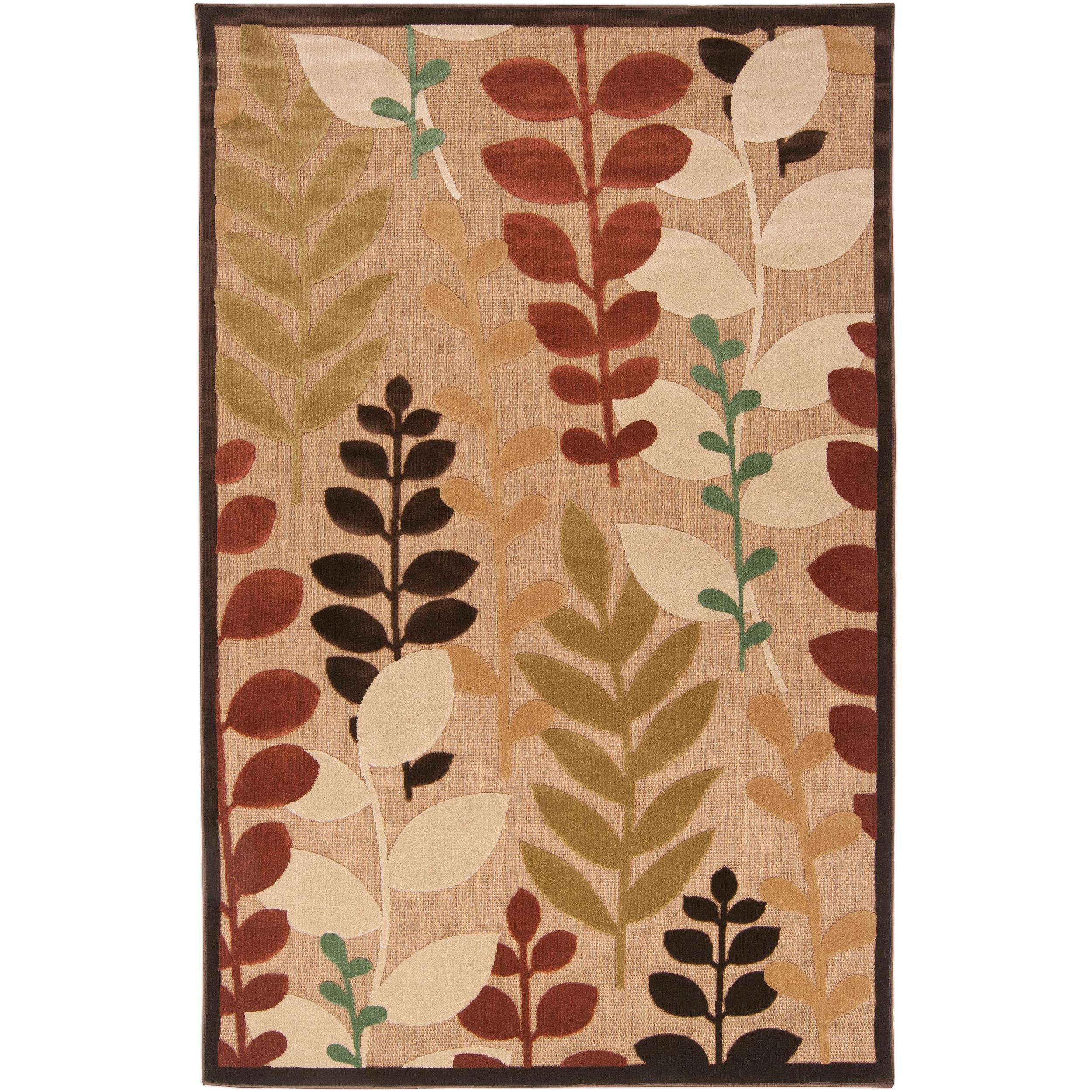 Woven Beige Cladagh Indoor Outdoor Floral Rug 7 10 x 10 8