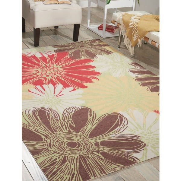 Nourison Home and Garden Green Indoor/Outdoor Rug (7'9 x 10'10)