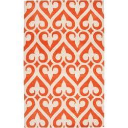 Jill Rosenwald Hand-tufted Red Reelan Geometric Fleur D Lis Wool Rug (8' x 11')
