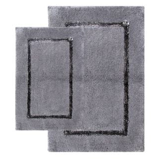 Greenville Pewter Grey 2-piece Bath Rug Set - Includes BONUS Step Out Mat