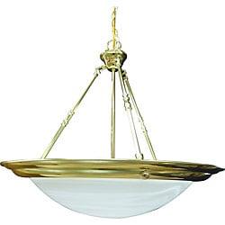 Three Light Polished Brass Bowl Pendant