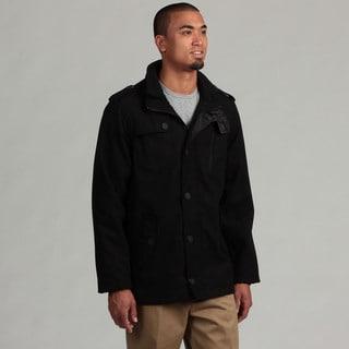 Brave Soul Men's Black Wool Military Style Jacket