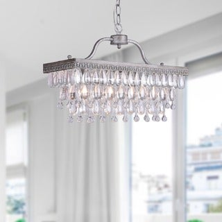 Crystal Glass Drop 3-light Antique Silver Chandelier