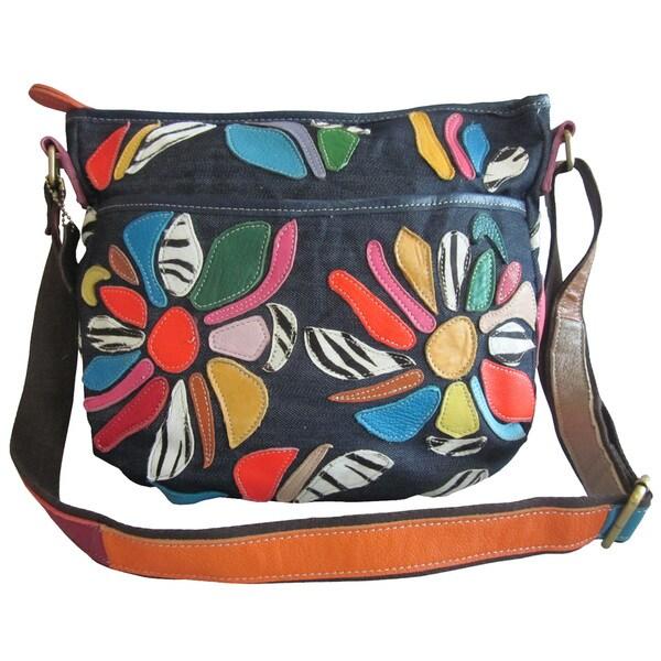 Amerileather 'Tansy' Denim/ Leather Messenger Bag
