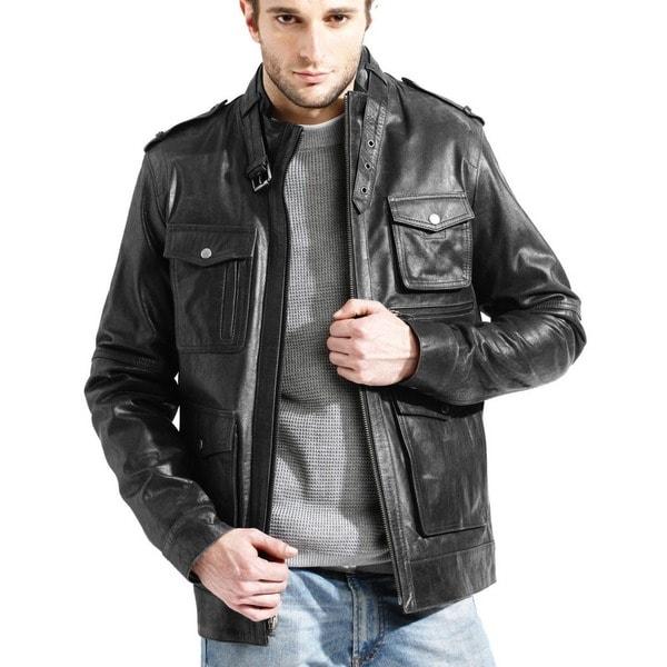 Men's Black Buffalo Leather Jacket