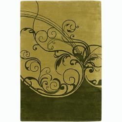 Hand-tufted Mandara Abstract Green New Zealand Wool Rug (7'9 x 10'6)
