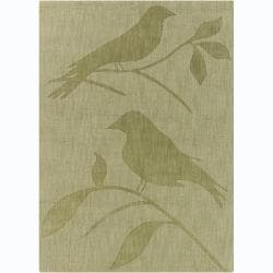 Hand-tufted Mandara  Green Bird Wool Rug (5' x 7')