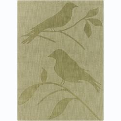Hand-tufted Mandara Green Bird Wool Rug (7' x 10')