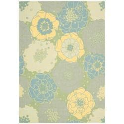 "Nourison Home and Garden Floral Green Indoor/Outdoor Rug (7'9"" x 10'10"")"