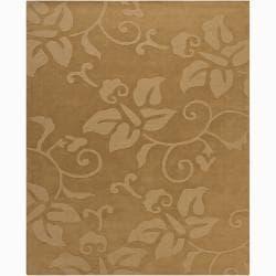 Hand-tufted Mandara Tan Floral Wool Rug (6' x 9')